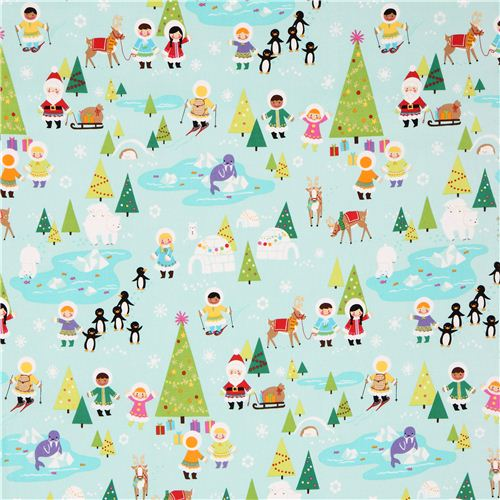 turquoise Silly Chilly Christmas Xmas fabric Alexander Henry ...