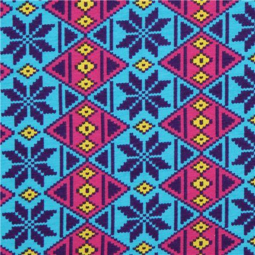 turquoise argyle pattern Michael Miller interlock fabric - Knit ...