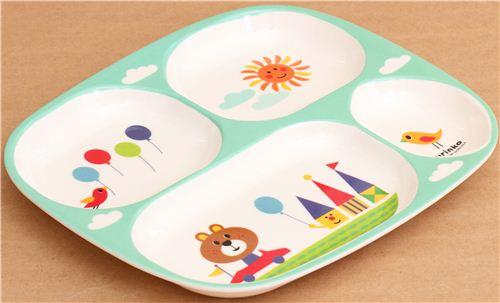 Plateau repas bento pour les enfants turquoise motif - Plateau repas enfant ...
