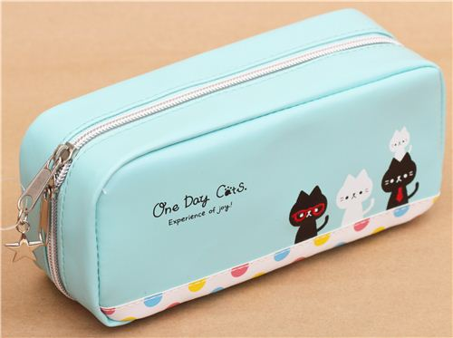 Turquoise Cat Dot Animal Pencil Case From Japan Pencil