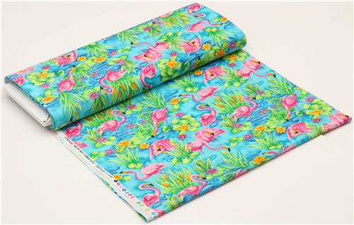 Turquoise Flamingo Animal Fabric By Timeless Treasures