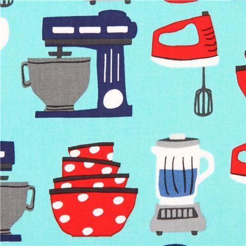 tela turquesa de utensilios cocina de robert kaufman eeuu