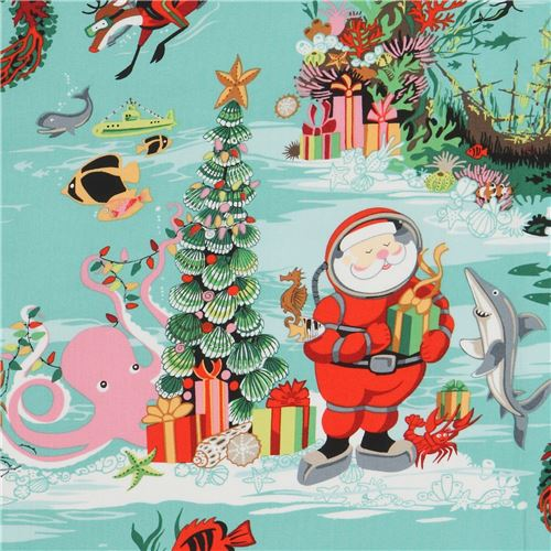 1 Weihnachten.Türkiser Stoff Mit Weihnachten Unter Wasser Von Alexander Henry