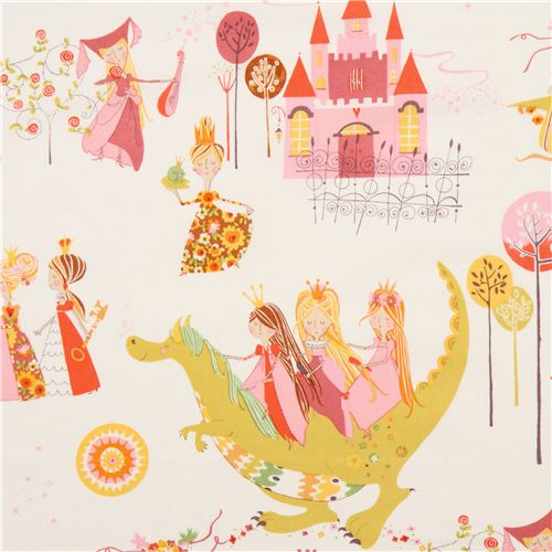 White alexander henry fairy tale fabric princess dragon for Dragon fabric kids