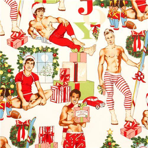 white Christmas fabric Pin up men Alexander Henry USA - Christmas ...