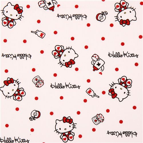 White Hello Kitty Oxford Fabric Breakfast Confetti By Sanrio From Japan