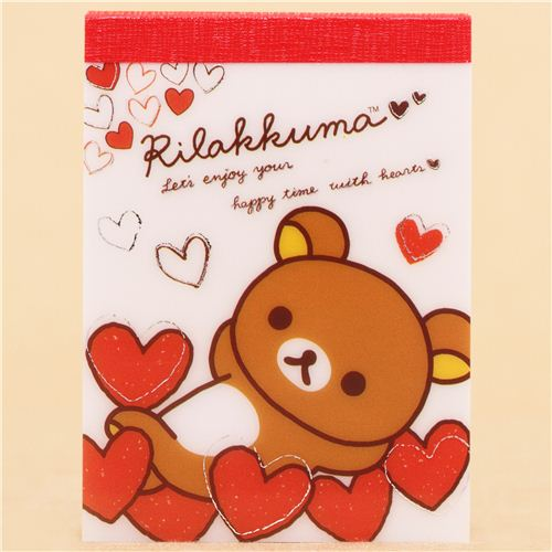 White japanese brown rilakkuma bear hearts mini note pad san x white japanese brown rilakkuma bear hearts mini note pad san x 1 m4hsunfo