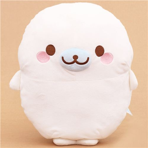 White Mamegoma Seal Standing Plush Toy Pillow By San X
