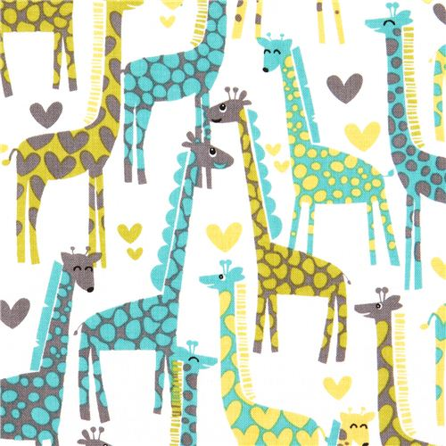 White Michael Miller Fabric Giraffe Love Heart Turquoise