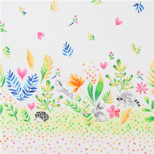 Tela blanca doble borde hoja flor colores animal de Michael Miller ...