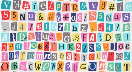 White Michael Miller Fabric Colorful Letter Symbols Cut It Out
