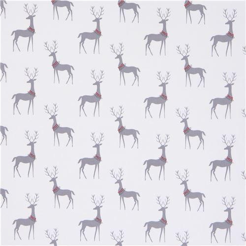 white michael miller fabric grey animal christmas reindeer 2 - Christmas Reindeer 2