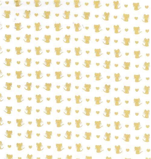 white Michael Miller fabric mouse gold metallic embellishment Nice ...