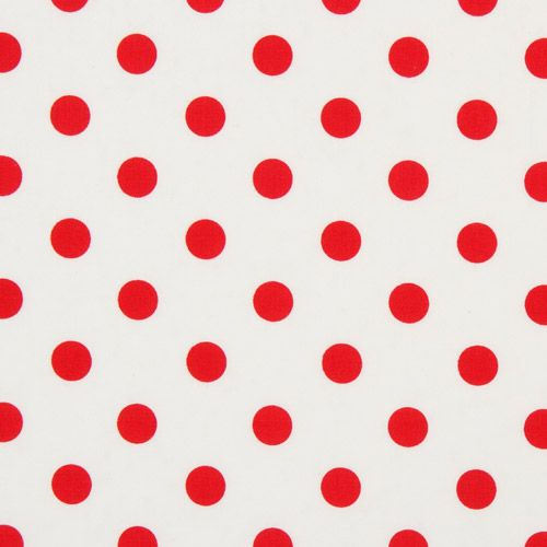 White michael miller fabric red polka dots dots stripes for Red and white polka dot pattern
