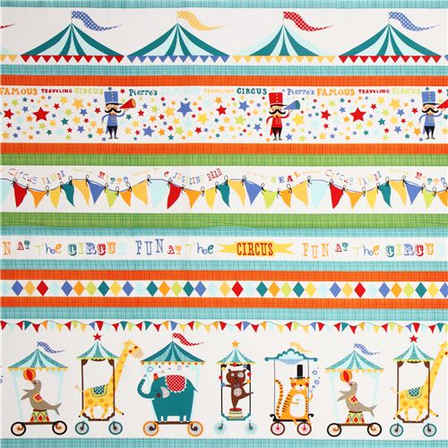 white michael miller fabric with circus animals in stripes