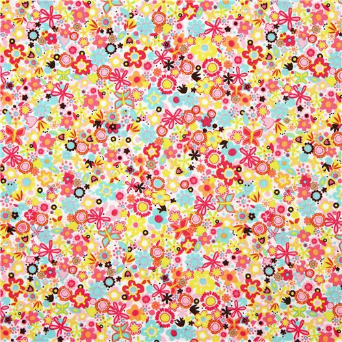 White Riley Blake Fabric With Pink Brown Flowers