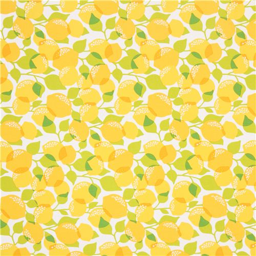 White Michael Miller Fabric With Yellow Lemons Food