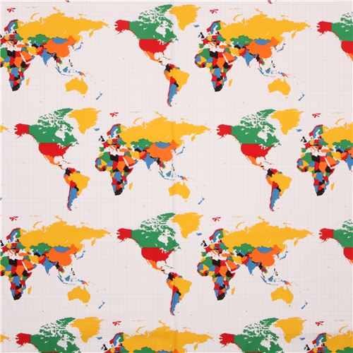 White riley blake colorful world map fabric our world retro fabric white riley blake colorful world map fabric our world 3 gumiabroncs Gallery