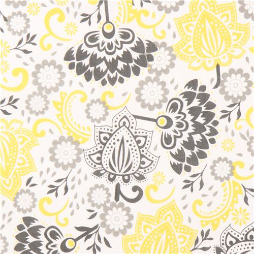 white Riley Blake flower fabric from the USA yellow-grey - Flower ...