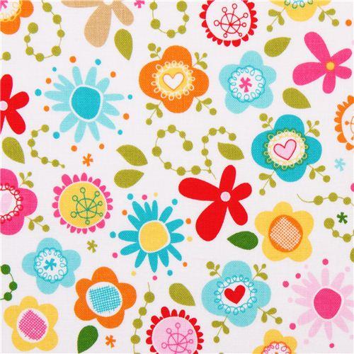 Tela Blanca Pradera Flores Colores Riley Blake Summer Breeze Telas