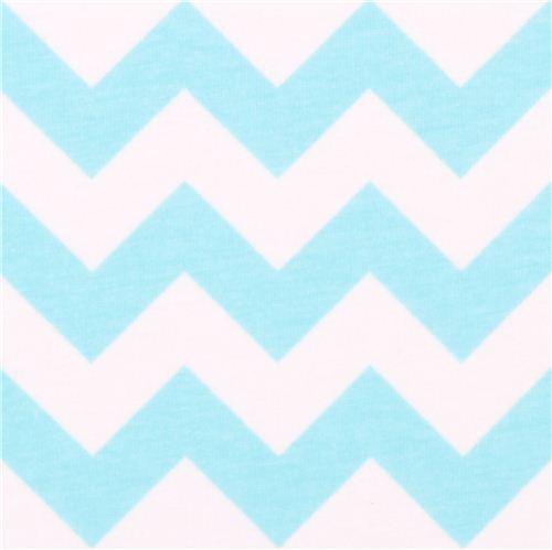 White Riley Blake Knit Fabric With Aqua Blue Chevron