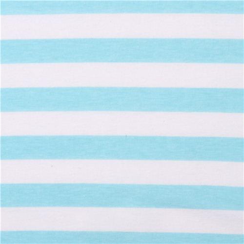 White Riley Blake Knit Fabric With Aqua Blue Thin Stripes 4