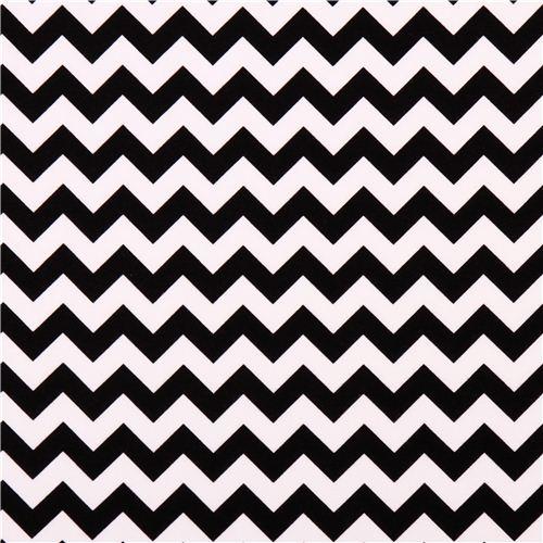 White Riley Blake Knit Fabric With Black Chevron Pattern Kawaii