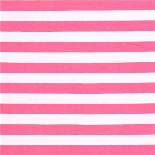 white Riley Blake knit fabric with hot pink stripes - Knit