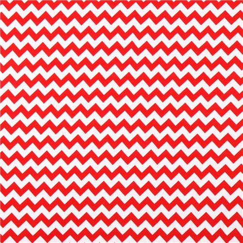 White Riley Blake Knit Fabric With Red Chevron Pattern