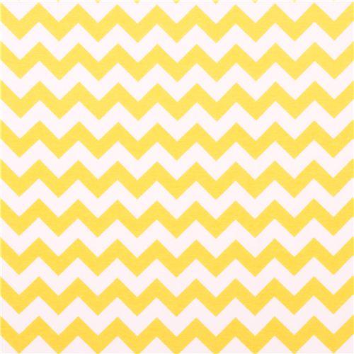 white Riley Blake knit fabric with yellow Chevron pattern 2