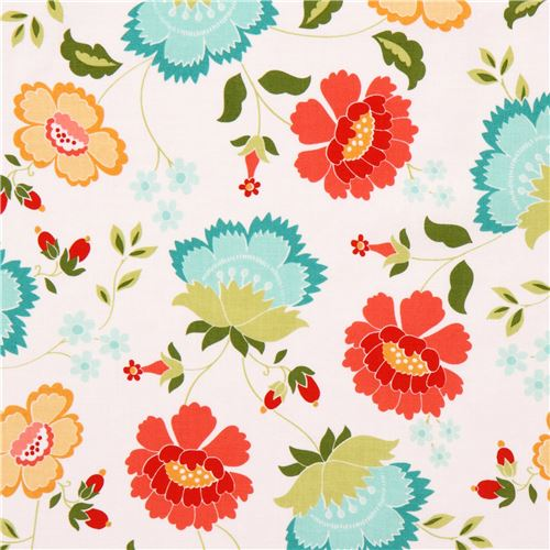 White riley blake teal coral yellow flower leaf fabric flower white riley blake teal coral yellow flower leaf fabric 3 mightylinksfo