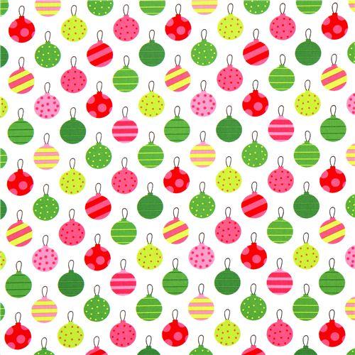 white Robert Kaufman Christmas fabric Christmas tree ball ...