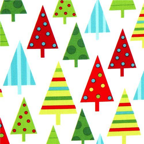white Robert Kaufman Christmas fabric with fir tree - Christmas ...