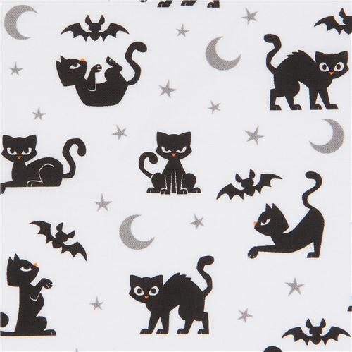 White Robert Kaufman Halloween Fabric With Black Cats