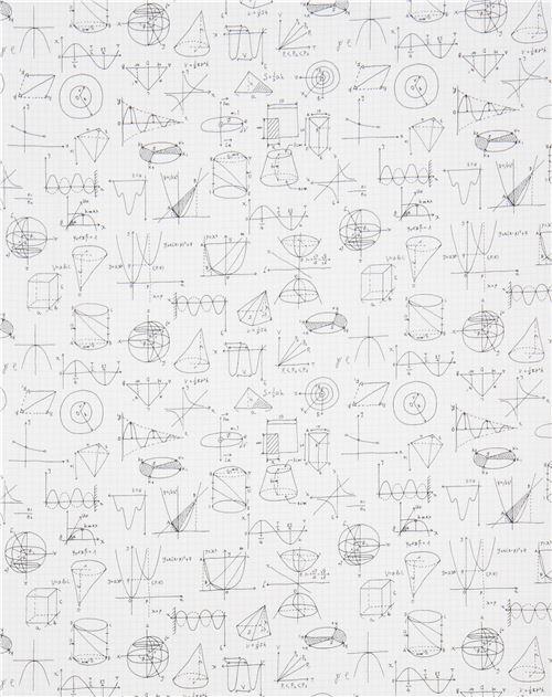 White Robert Kaufman Math Diagram Fabric