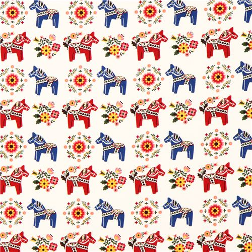 White swedish dala horses animal fabric by cosmo from for Horse fabric for kids