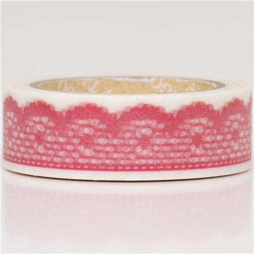 Nastro coprente decorativo washi bianco con pizzo rosa washi tape nastri adesivi decorativi - Nastri decorativi natalizi ...