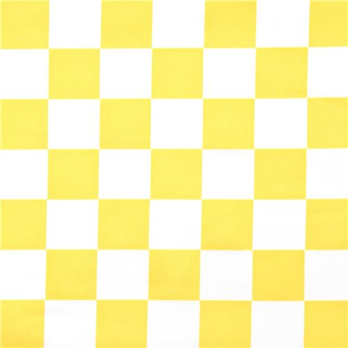 White And Yellow Square Checkered Polyester Satin Fabric