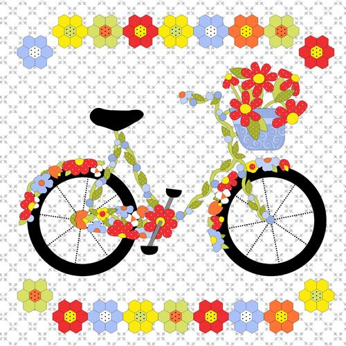 white big bicycle colorful flower double border fabric by henry glass flower fabric fabric. Black Bedroom Furniture Sets. Home Design Ideas