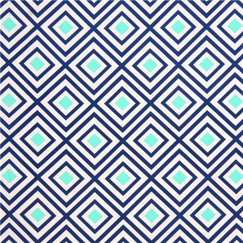 Bien-aimé Toile blanche avec un motif bleu géométrqiue Geo Pop Lagoon par  KR94