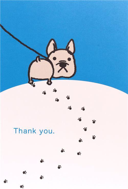 Fantastic white-blue dog postcard Thank You card from Japan - Postcards  LT71