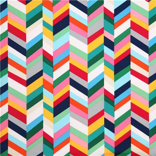 Bien-aimé Toile blanche Robert Kaufman, zigzags géométriques multicolores  KR94
