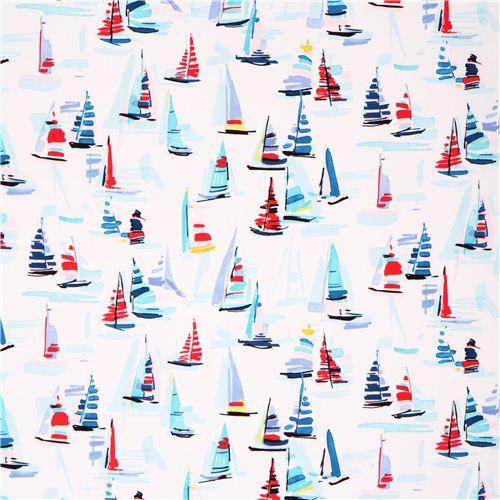 Maritime Stoffe weißer bunter segelboot michael miller stoff maritime stoffe