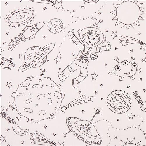 Tela dibujo colorear luna estrella cohete astronauta de Michael ...