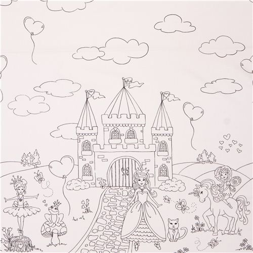 coloring panel border fabric with fairy princess castle