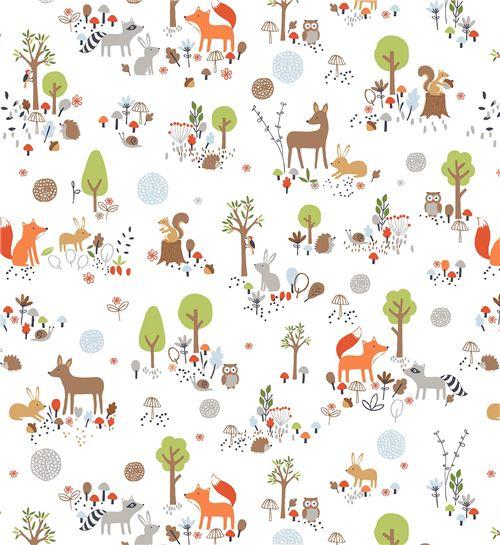 tissu studioe gentle forest blanc animaux foorestiers. Black Bedroom Furniture Sets. Home Design Ideas