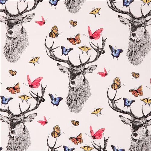 tissu blanc avec des cerfs et des papillons dear butterfly. Black Bedroom Furniture Sets. Home Design Ideas