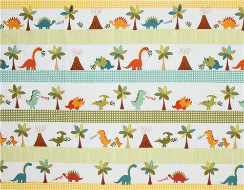 White dinosaur fabric for boys michael miller stripes for Kids dinosaur fabric