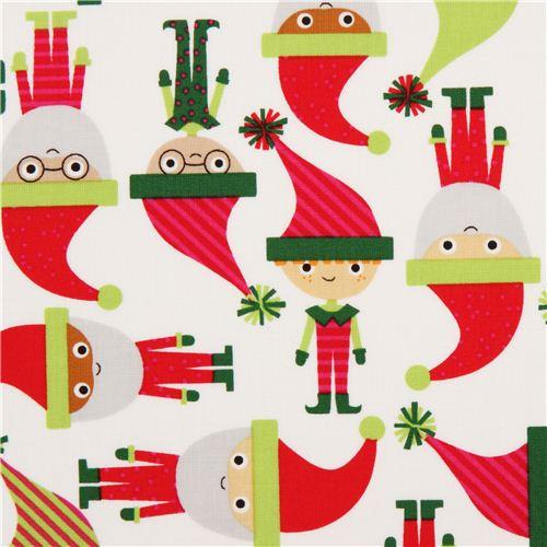 Tela Blanca Elfos Navidad Santa Claus De Robert Kauffman Telas