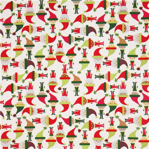 white elves Santa Claus Robert Kaufman Christmas fabric ...
